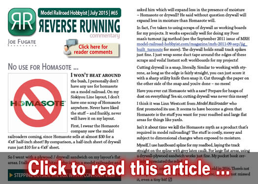 Reverse Running: No use for Homasote | Model Railroad