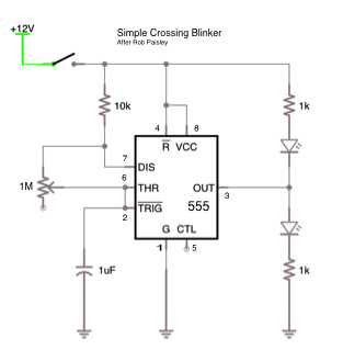 build a crossing signal circuit model railroad hobbyist magazine i m not going to talk about how to get the leds into crossing signals that is well covered elsewhere this is the schematic